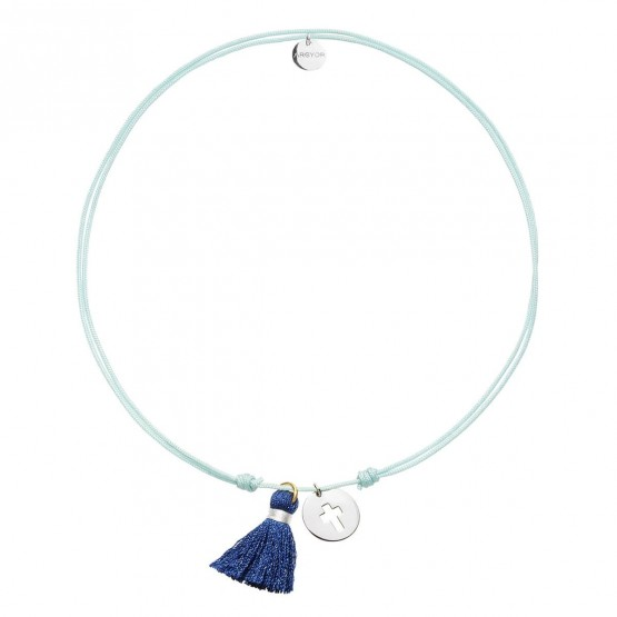 Gargantilla Nylon estrella plata rodiada y Pompón Azul  (3B8307504)