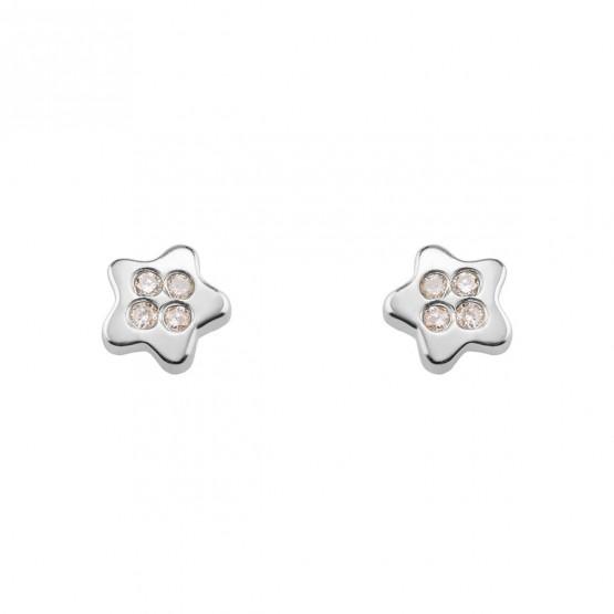 Pendientes de Bebé blancos Estrella con diamantes (0316338B)