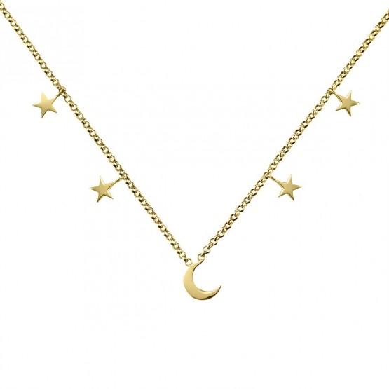 Collar de oro 18k Luna y Estrellas (3A8307300A)