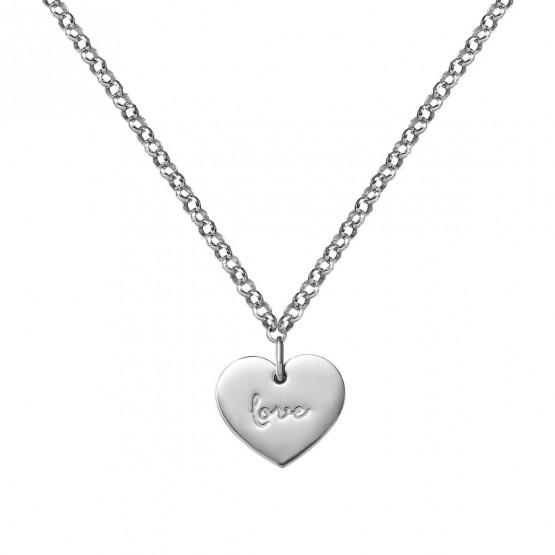 Collar de oro blanco 18k Corazón love (3B8307315)
