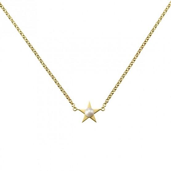 Collar de plata 925 dorada Estrella con Perla (3A8307302)