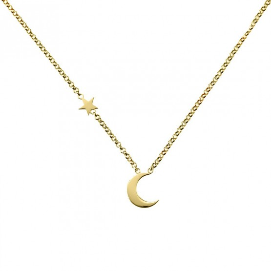 Gargantilla de plata de 1ª ley dorada Luna y Estrella (3A8307300B)