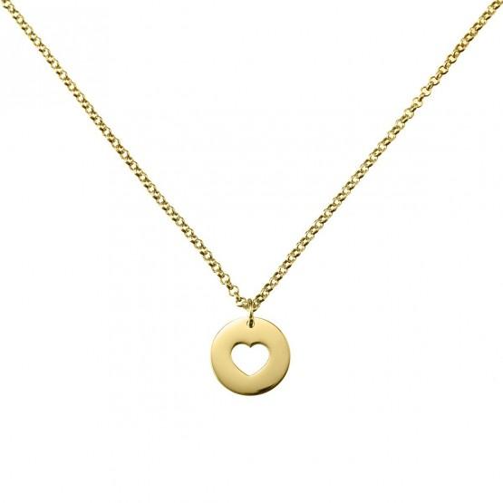 Gargantilla de plata dorada con un corazón calado (3A8307308)