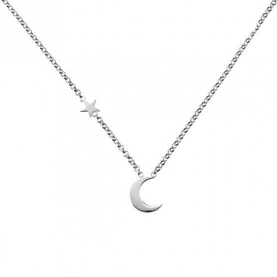 Collar de plata de ley 925 Luna y Estrella (3B8307300B)