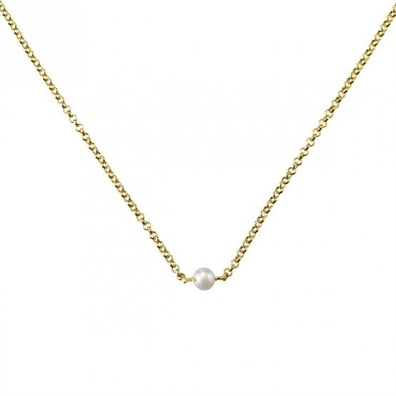 Gargantilla de plata dorada con Perla (3A8307303B)