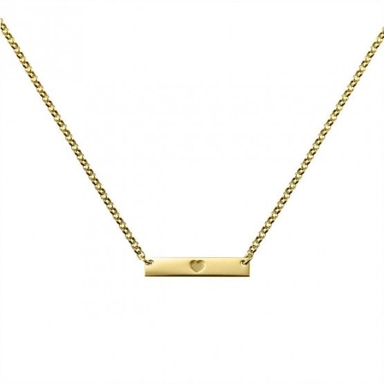 Gargantilla de plata dorada con placa de corazón (3A8307306B)