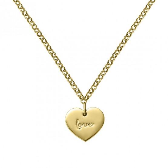 Collar de plata dorada corazón love (3A8307315)
