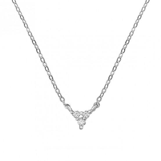 Collar de oro blanco con triángulo 3 diamantes 0.06ct (76BGA002)