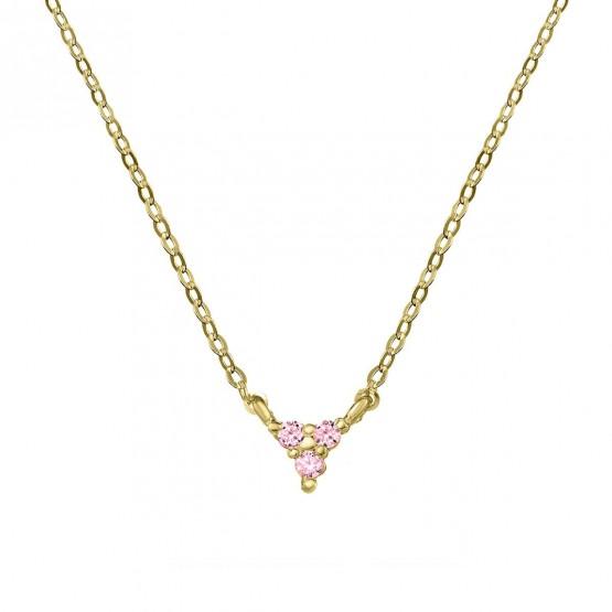 Colgante triangulo oro con 3 zafiros rosas (76AGA002ZR)