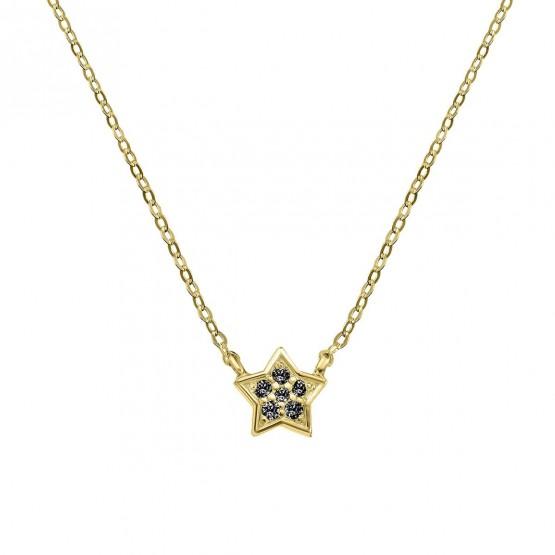 Colgante estrella oro con 6 diamantes negros (76AGA005DN)