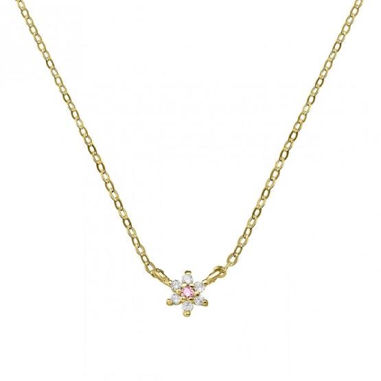 Colgante oro flor con zafiro rosa y diamantes (76AGA001ZR)