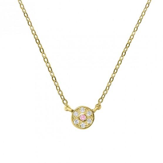 Colgante diamante y zafiro rosa roseta (76AGA003ZR)