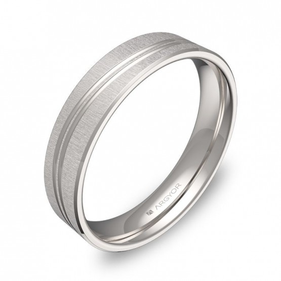 Alianza de boda plana con ranuras 4,5mm en oro blanco C3745T00B