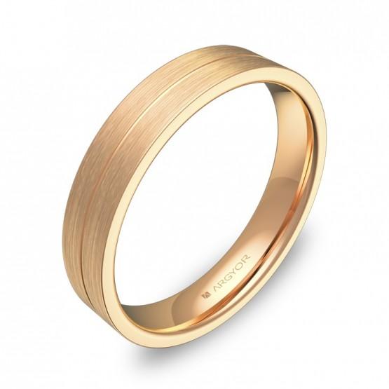 Alianza de boda plana con ranuras 4mm en oro rosa satinado C0340S00R