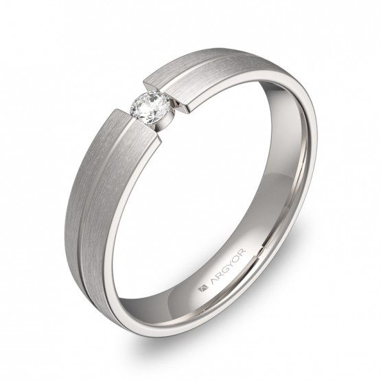Alianza de boda de oro blanco con ranuras 1 diamante C0440S1BB