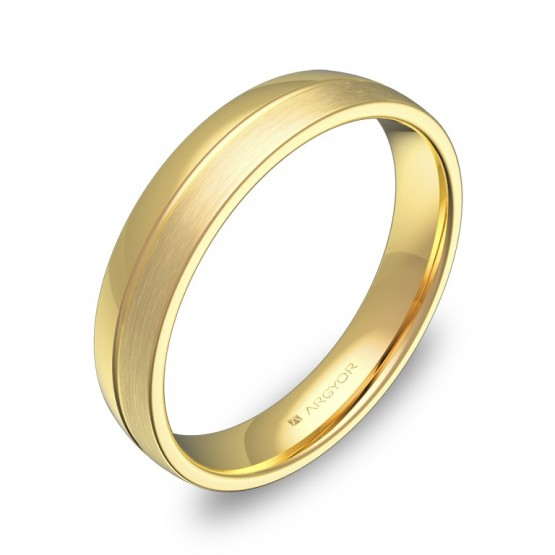 Alianza de boda de media caña con ranuras en oro amarillo C0540C00A