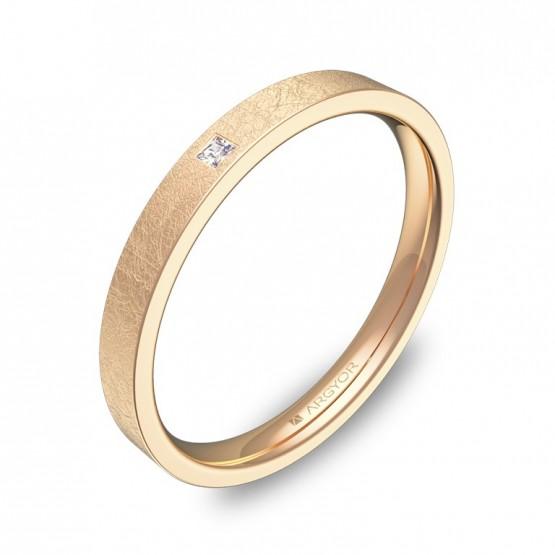 Alianza de boda en oro rosa efecto hielo con diamante B0125H1PR