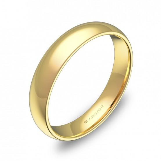 Alianza de media caña gruesa 4,0mm en oro amarillo pulido A0140P00A