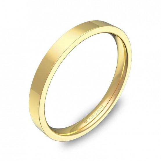 Alianza de boda plana gruesa 2,5mm en oro amarillo pulido B0125P00A