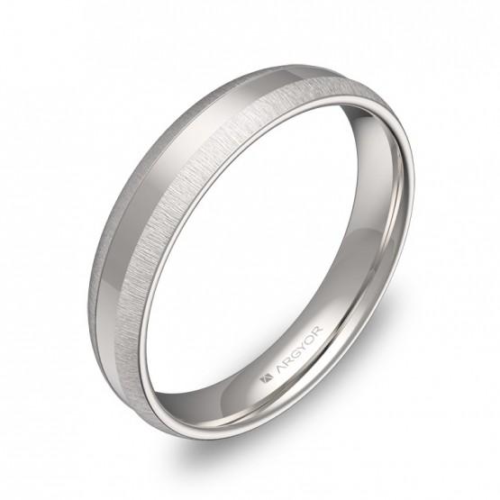 Alianza de boda de media caña con ranuras 4mm en oro blanco C2240C00B