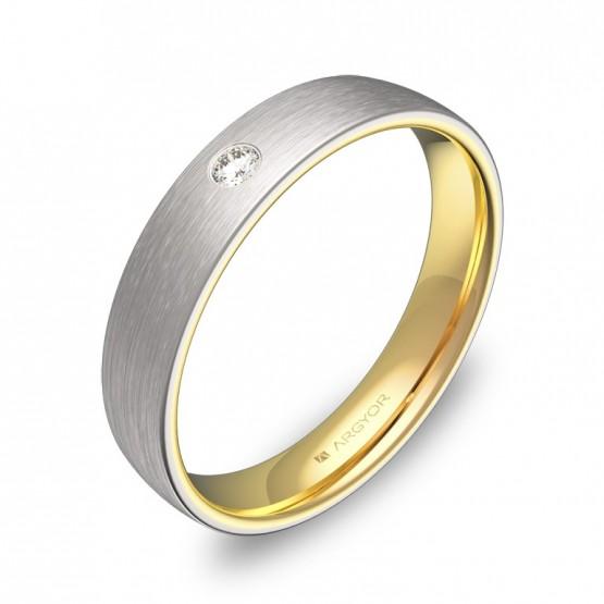 Alianza de boda media caña oro bicolor satinado y diamante D1040S1BA