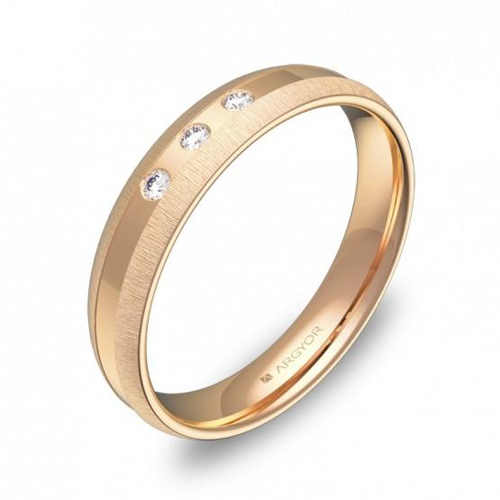 Alianza de boda oro rosa media caña con ranuras 3 diamantes C2240C3BR