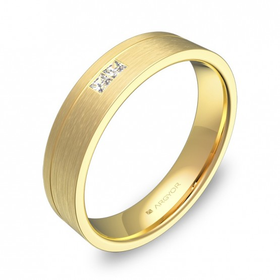 Alianza de boda plana con ranuras oro amarillo con diamantes C0245S2PA