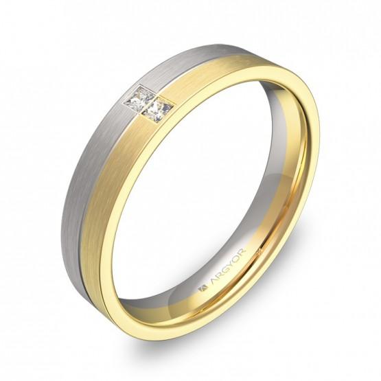 Alianza de boda plana con ranuras oro bicolor 2 diamantes D0340S2PA
