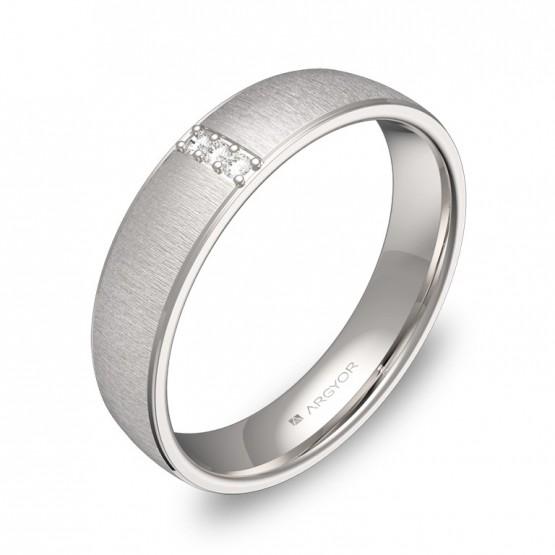 Alianza de boda oro blanco textura con biseles y diamantes C0645T3BB