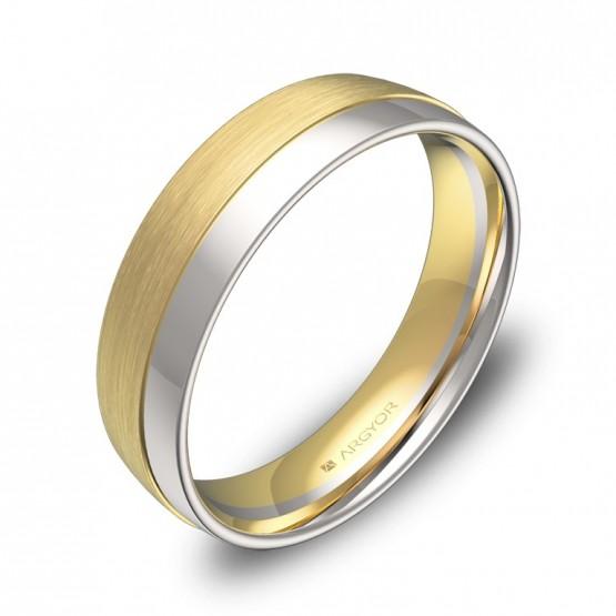 Alianza de boda de media caña con ranuras 5mm oro bicolor D2050C00A