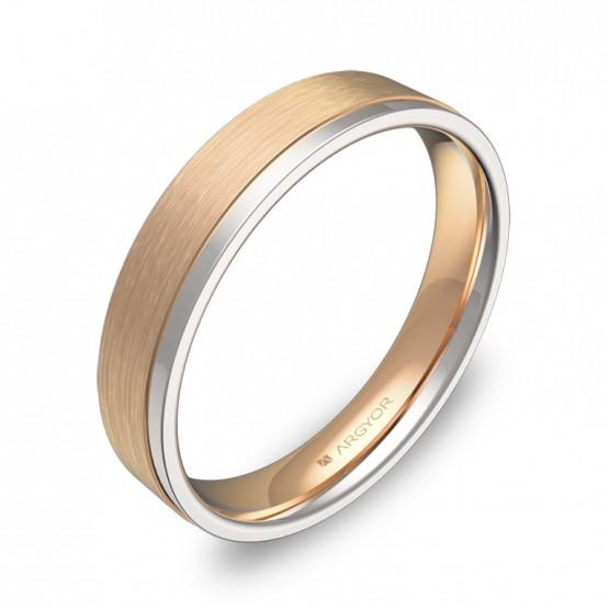 Alianza de boda plana con ranuras en oro bicolor combinado D1440C00R