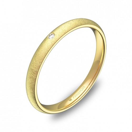 Alianza de boda de oro en media caña 1diamante A0125H1BA