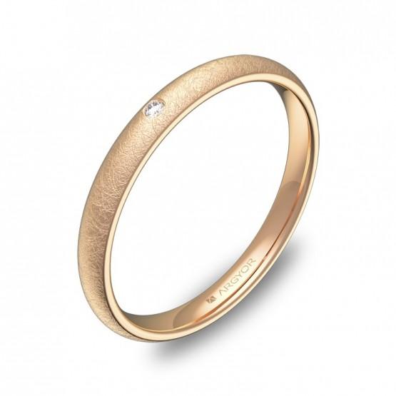 Alianza media caña gruesa 2,5mm oro rosa hielo con diamante A0125H1BR