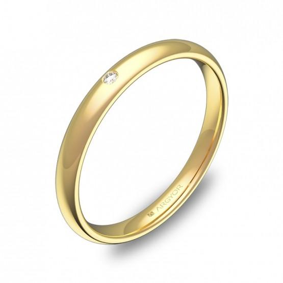 Alianza media caña gruesa 2,5mm oro amarillo con diamante A0125P1BA