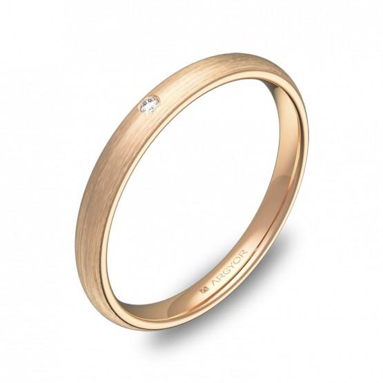 Alianza de media caña gruesa oro rosa satinado con diamante A0125S1BR