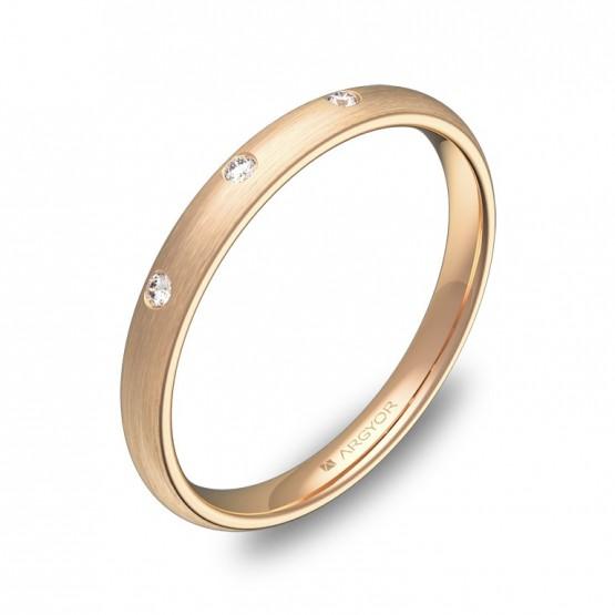 Alianza de media caña gruesa oro rosa satinado y diamantes A0125S3BR
