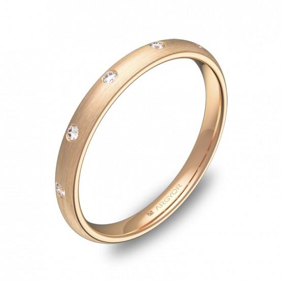 Alianza de media caña gruesa 2,5mm oro rosa con diamantes A0125S5BR