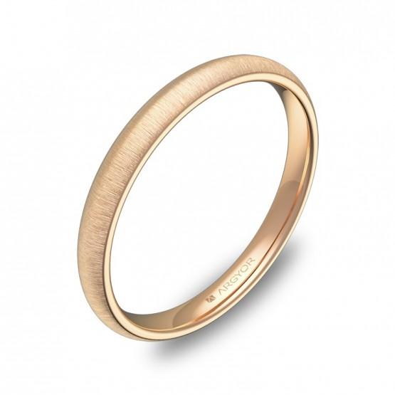 Alianza de media caña gruesa 2,5mm oro rosa rayado A0125T00R