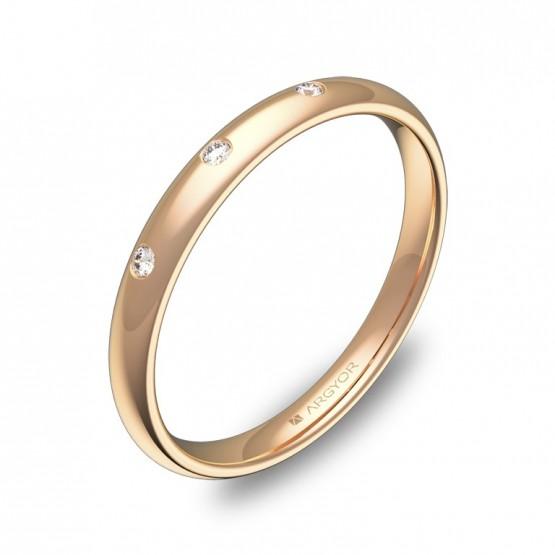 Alianza media caña gruesa oro rosa pulido con diamantes A0125P3BR