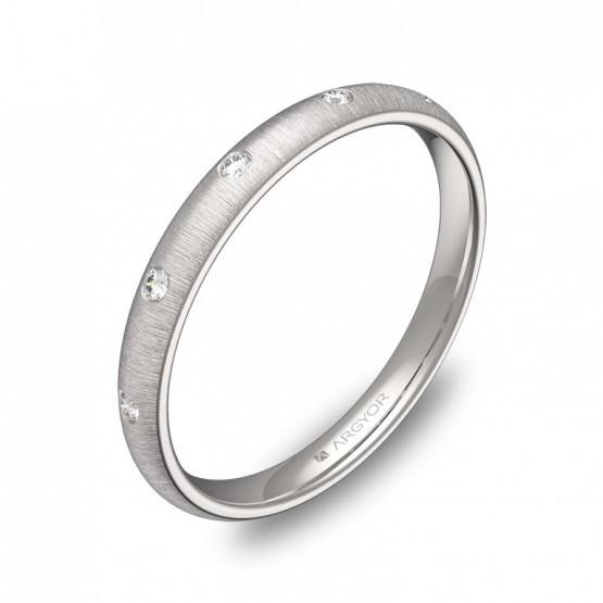 Alianza de media caña gruesa 2,5mm oro blanco 5 diamantes A0125T5BB