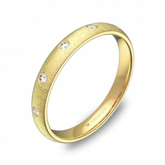 Alianza de 3,0mm en oro amarillo hielo con diamantes A0130H5BA
