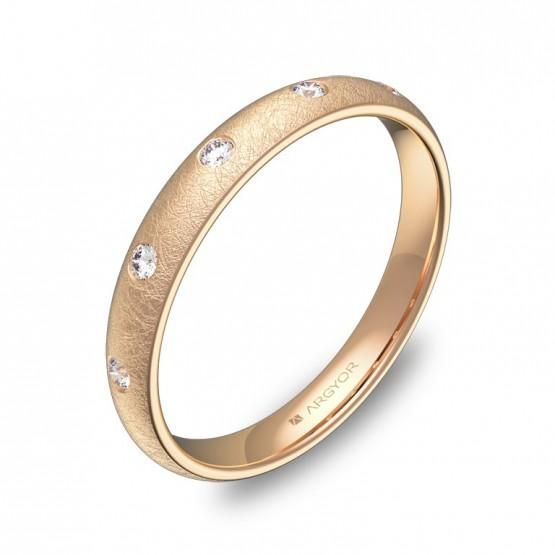 Alianza de media caña gruesa 3mm oro rosa hielo 5 diamantes A0130H5BR