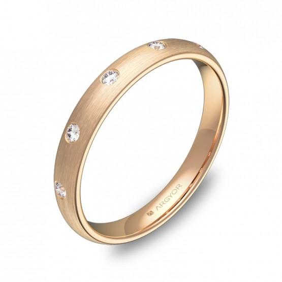 Alianza de media caña gruesa 3mm en oro rosa con diamantes A0130S5BR