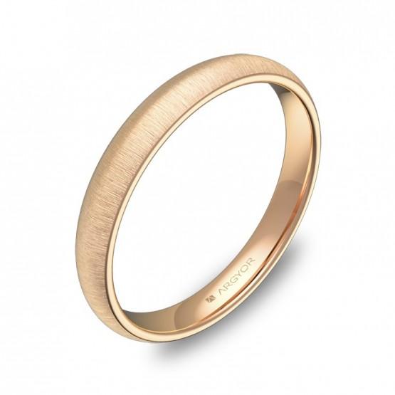Alianza de media caña gruesa 3,0mm en oro rosa rayado A0130T00R