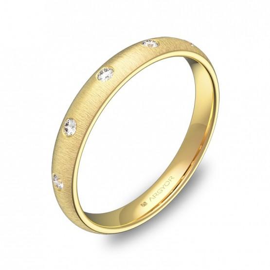 Alianza de media caña gruesa en oro amarillo con diamantes A0130T5BA