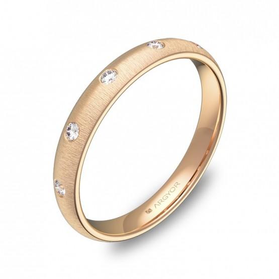 Alianza de media caña gruesa  en oro rosa con diamantes A0130T5BR