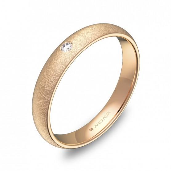 Alianza de bodas de 3,5mm en oro rosa hielo con diamante A0135H1BR