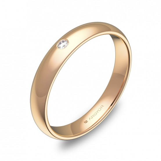 Alianza de media caña 3,5mm en oro rosa pulido y diamante A0135P1BR