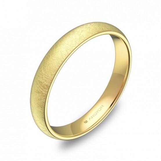 Alianza de media caña gruesa 3,5mm en oro amarillo hielo A0135H00A