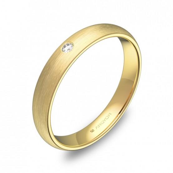 Alianza de media caña 3,5mm en oro amarillo con diamante A0135S1BA